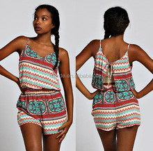 women ladies BOHO CHEVRON PRINT SELF-TIE TRIM OPEN BACK CHIFFON CAMI ROMPERS