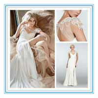 Sexy Chiffon Cap Sleeve Front Slit Wedding Dress(WDJL-1016)