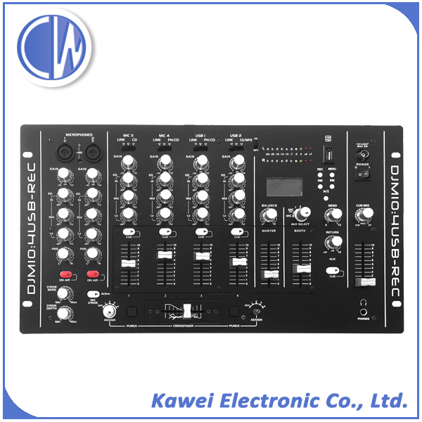 (CDM10:4REC) 4 channel audio sound dj mixer with effect and EQ