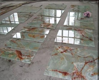 Chinese Supplier Professional luxury polished Green onyx tile marble floor tile