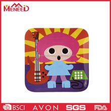 Square shape cartoon design kitchen use melamine custom plastic cutting boards, plastic bread and dessert chopping board