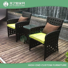 2 seaters rattan chairs and glass top table coffee shop furniture / Balcony dining furniture
