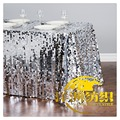 Wholesale luxury 6FT SILVER wedding party sequin table cloth