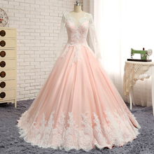 Lace Appliques Chapel Train Long Sleeve Ball Gown Plus Size Wedding Dress