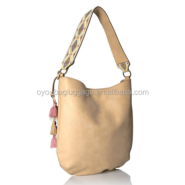 Women's Classy Hobo Bag w/ Embroidered Shoulder Strap