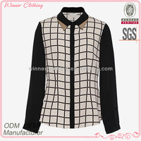 OEM/ODM factory direct manufacture fashion casual long sleeves girls plaid blouse different types of blouse designs