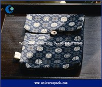 Printed cloth flap cotton button pouch for documents