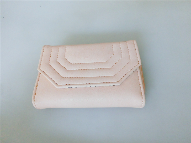 Factory Directly Sale Slim Trifold Wallet PU Leather Pink Lovely Coin Purse for Girls