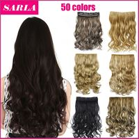 Synthetic Hair 50 Colors!!! 130g 20inch 50cm Synthetic Clip In Hair Extensions Curly Wavy Heat Resistant Hairpiece Natural Hair