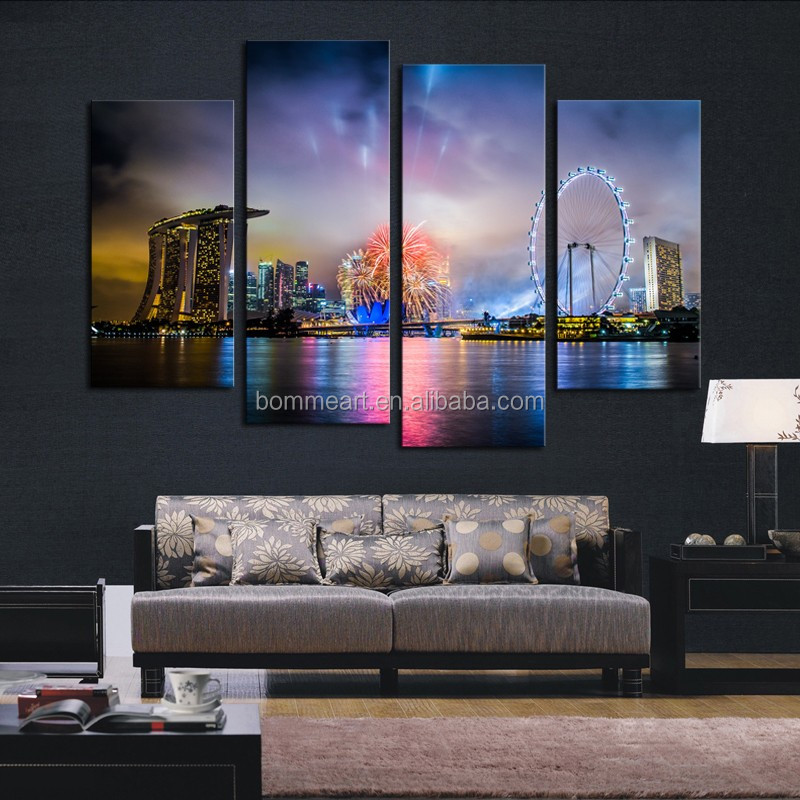 Wholesales 4 panel Colorful City Night Modern Home Wall Decor Canvas Print oil Painting For House Decorate
