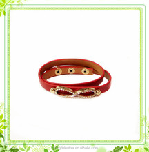 Custom personlized Women Bangle Genuine Leather Bracelet with Stainless Steel Bowknot Wholesale