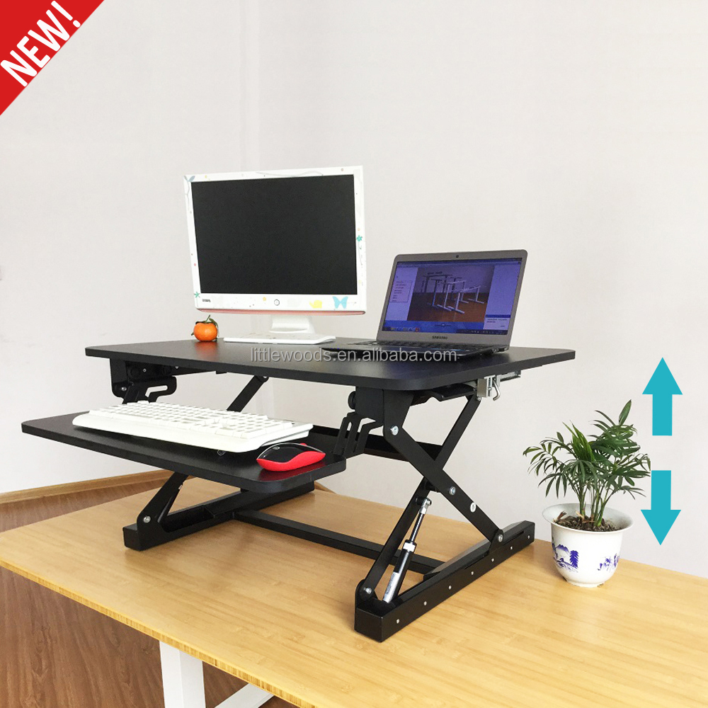Ergonomic Gas Spring Wide Platform Dual Monitor Capable Height