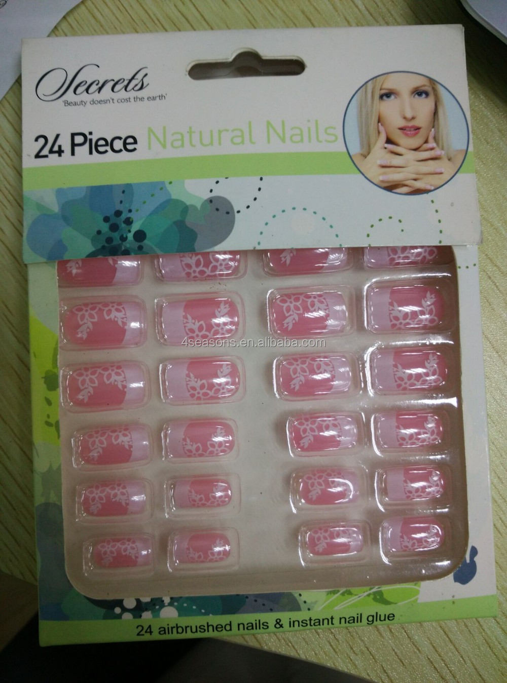 24pcs natural nails stick fake nail with glue DIY Nail Art