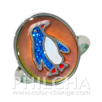 Stylish Animal Ring Multi Color Change Penguin Mood Ring With Glitter for Children