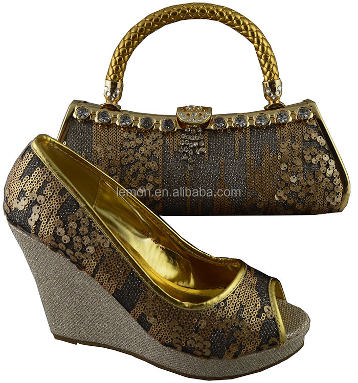 Modern elegance platform ladies shoes and bag with sequins 1308-L20