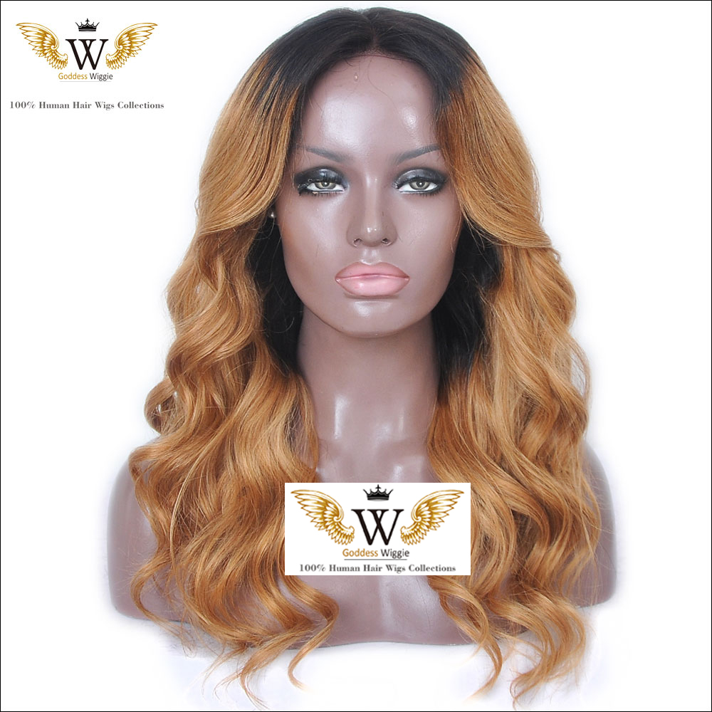130 Density Glueless Blonde Silk Base Full Lace Human Hair Ombre Wigs/Brazilian Ombre Body Wave Human Hair Wigs Baby hair