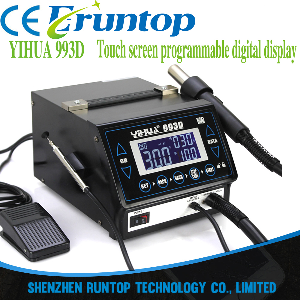 YIHUA 993D+ hot air desoldering station heat gun touch screen programmable digital display lead-free hot air soldering station