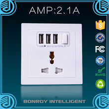 13a electrical multi sockets ac power socket/universal outlet with spike and surge guard worldwide wall socket with usb port