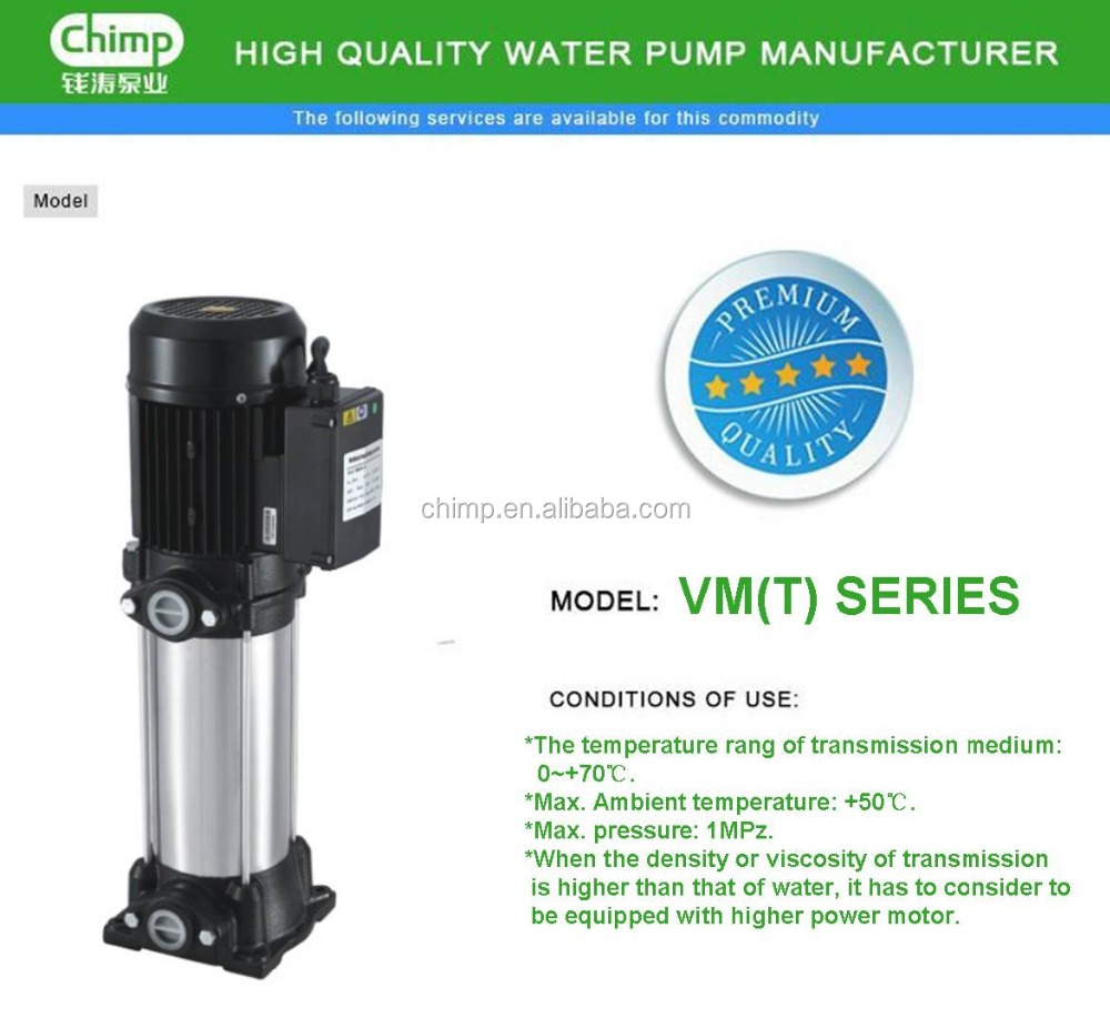 CHIMP High Head VM2-9X3(T) Vertical Multistage Stainless Steel Centrifugal Pump