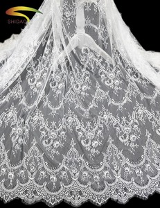 2018 new design french lace materials elegant fancy lace fabric white guipure wedding lace fabric for dresses