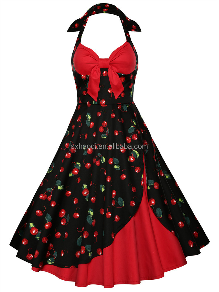 European Fashion Design Latest Women Vintage Roses Pattern Sleeveless Dress