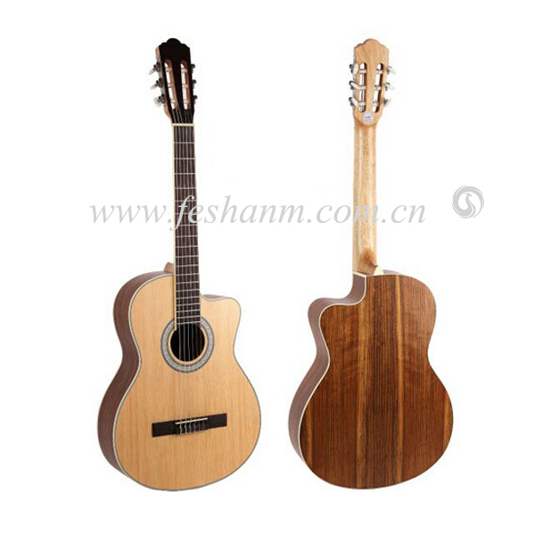 Chinese Good Quality 39inch cutway plywood Matt Nature Travel Student Classical Guitar for sale Spruce Walnut Guitar