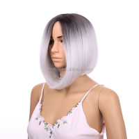 Fashion Grey Synthetic Lace Front Wig Glueless Ombre Natural Black/Silver Grey Short Bob Heat Resistant Hair Wigs For Women