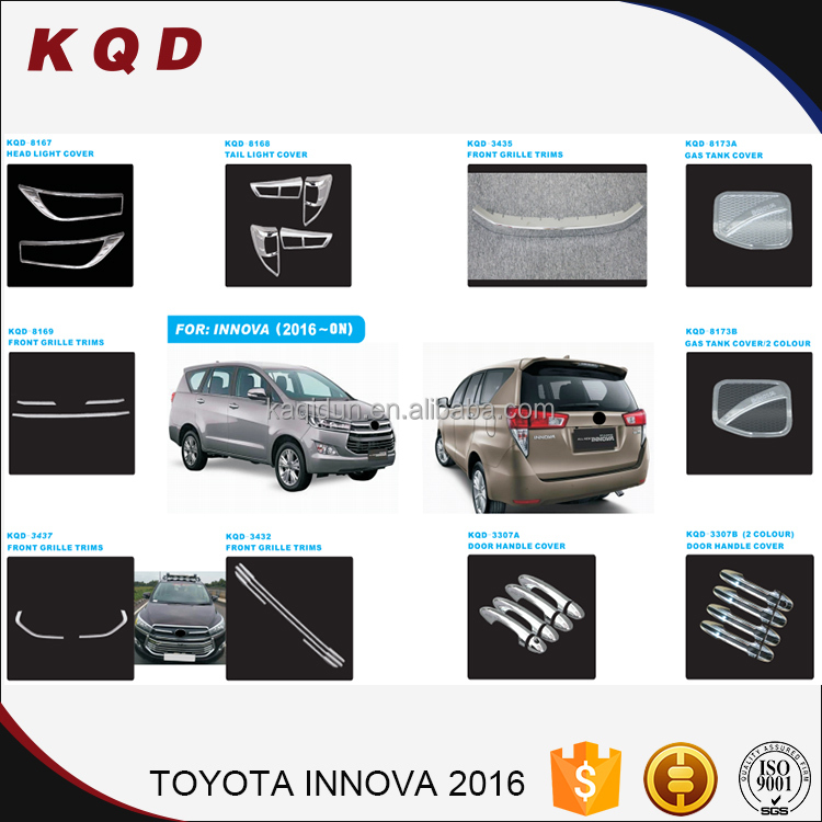 Beautiful appearance auto chrome accessories set perpect fitment toyota innova car accessories