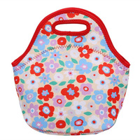 Flower Red Fashion Neoprene Insulaed Lunch Bag for Chirldern, Tote Lunch Box Case Cooler Bag with Zipper
