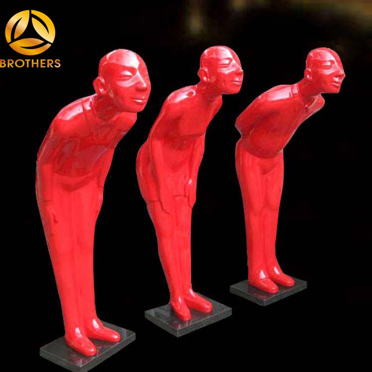 Red color life size abstract fiberglass man sculpture brgf735