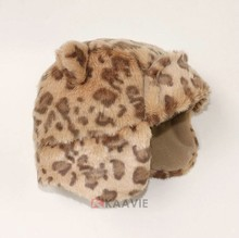 children plush fur winter cute leopard kids pilot hat