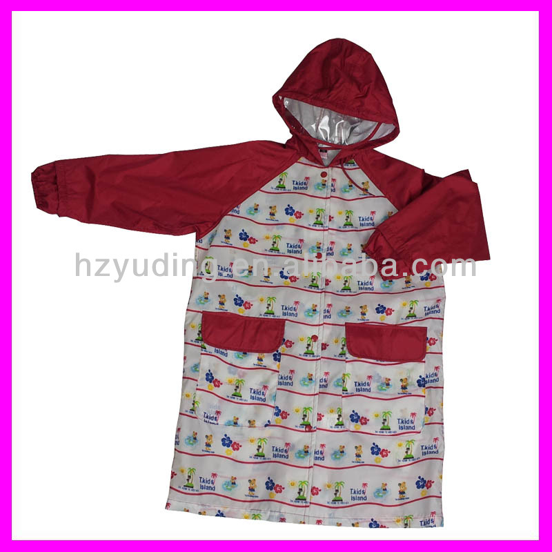New design children fashion printed nylon rain poncho with hood