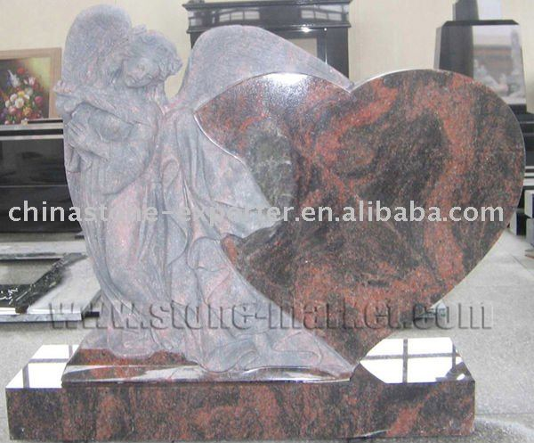 tombstone with angel and heart