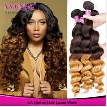Peruvian loose wave colored two tone hair weave