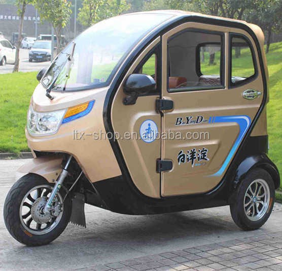 Factory 3 Wheel 125CC Automobile, 4 Stroke Pickup Type Full Closed Elderly Mobility Scooter With Heater/2 Passenger Seats