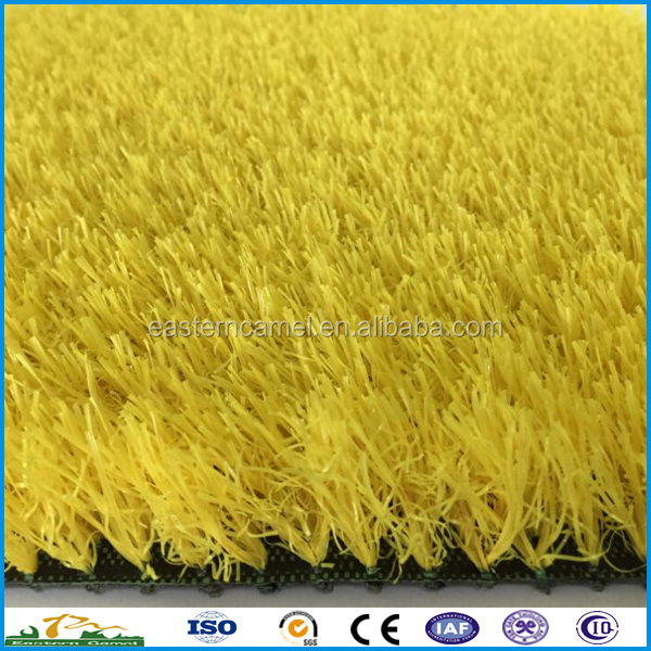Pile height 35mm rainbow racetrack yellow synthetic turf grass for commercial decoration