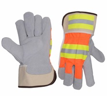 Driving and Construction Reflective Tapes Rubberized cuff Economic Split Cowhide Leather Palm Work Gloves