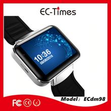 Super big touch screen 2.2 inch 3g gps android 4.4 mtk6572 for skype video call smart watch DM98