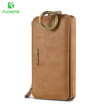 New Leather Multi-function Flip Cover Retro Folded Detachable FLOVEME Wallet Case For IPhone 7
