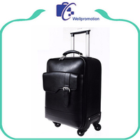 Laptop trolley luggage bag black pu leather business travelling carry on luggage