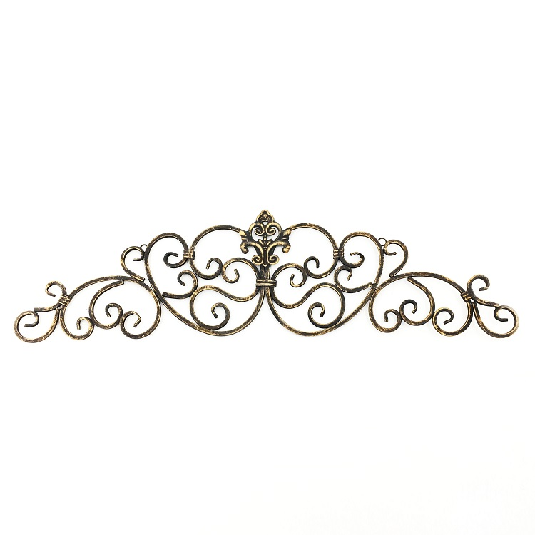 Wholesale Vintage Scrolled Gold Iron Door Topper Metal Wall Art