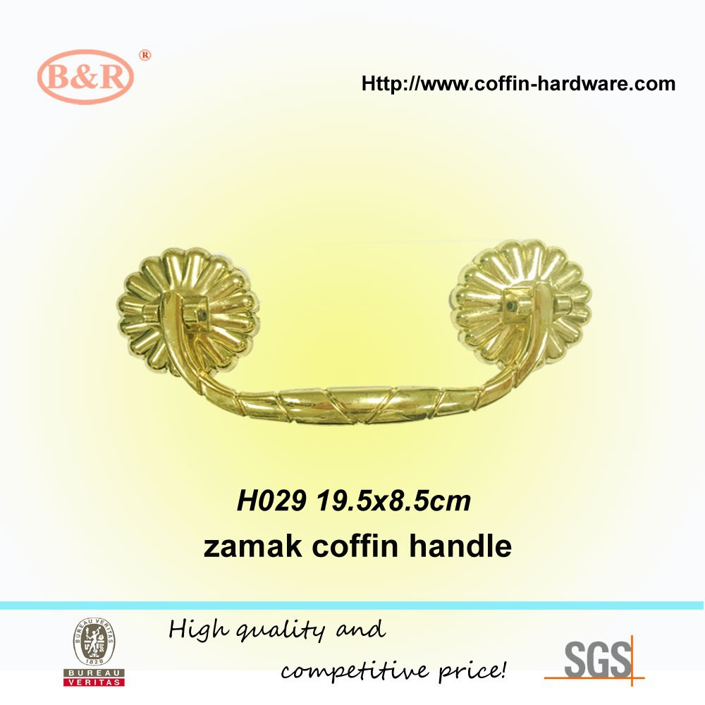 High polished coffin handle , funeral decoration, dore color H029
