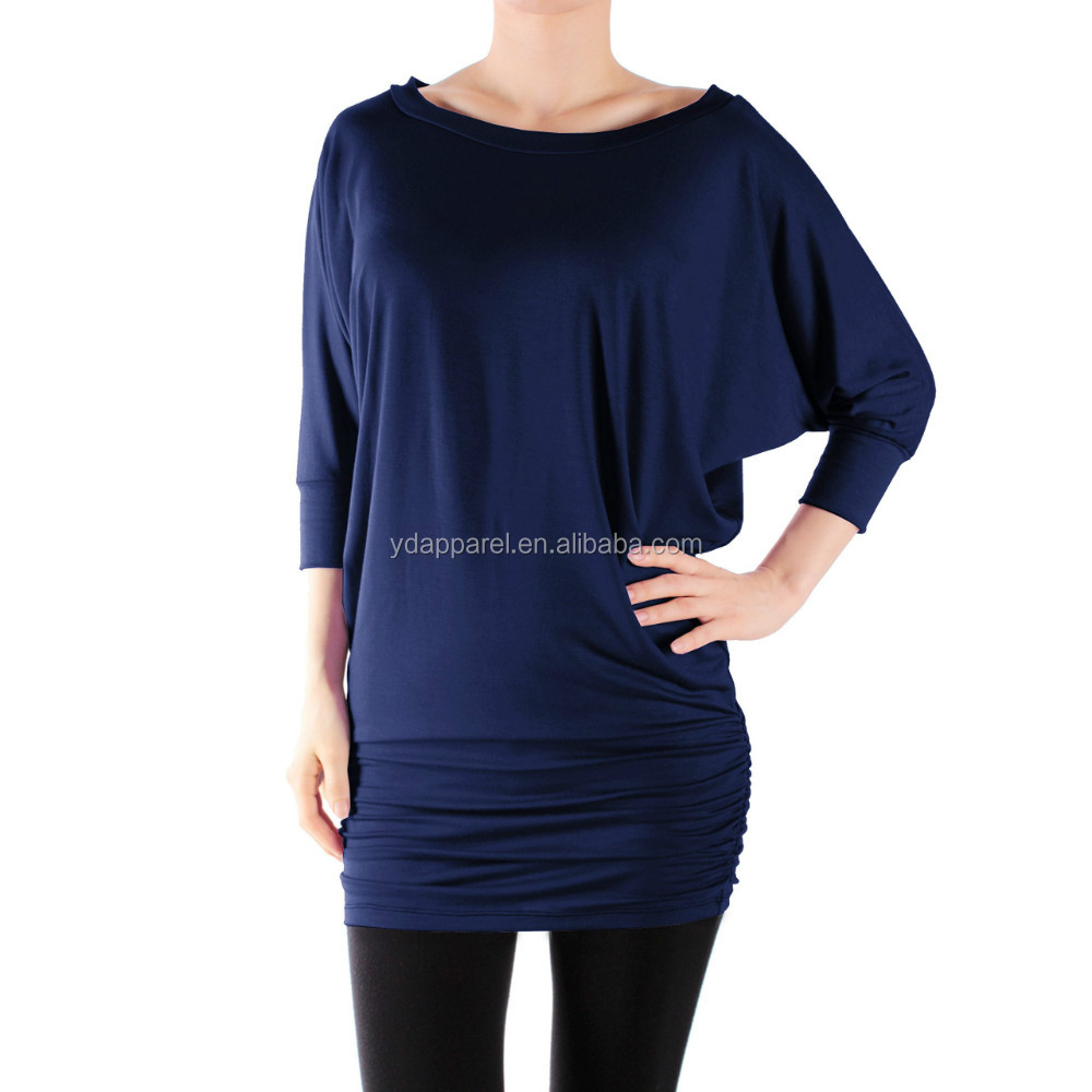 Women solid color tunic top yoga shirts 3 4 sleeve buy 3 Yoga shirts with sleeves