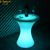 coffee table plastic glow bar table/led illuminated cocktail glowing long led bar table