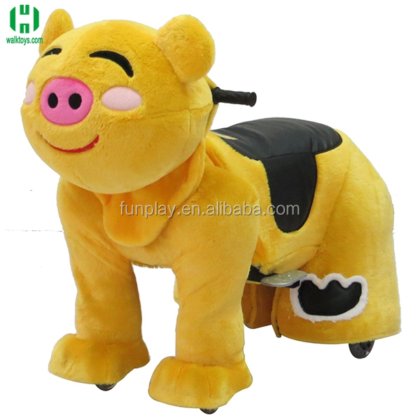 HI LED lighting plush animal electrical car for kids