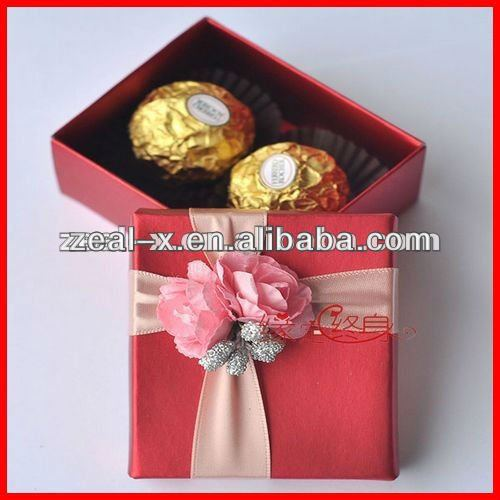 New Hot Red Favor Truffle Boxes,Rectangle Brownies Packagings with Ribbon Bow