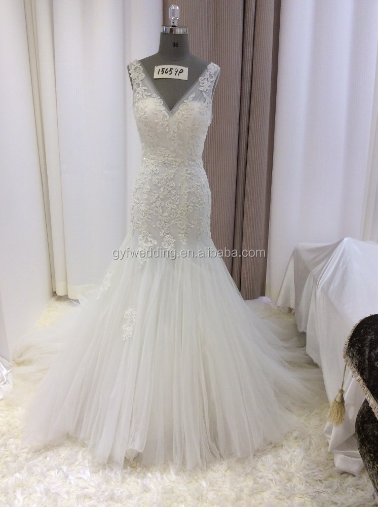 Alibaba Elegant Ivory Deep V-Neck Sleeveless Appliqued Dresses Low Back Tulle Skirt Lace Mermaid Bridal Wedding Gown 15059