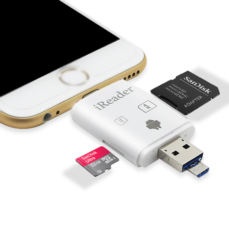 Dual card slot TF& SD card reader, USB 2.0 Interface Type and Stock Products Status otg usb flash drive for iphone