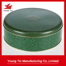 round metal tin box for cookie stroage
