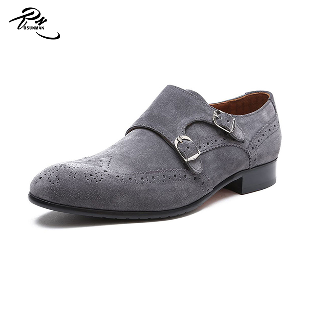Grey color suede leather men brand work double monk strap shoes